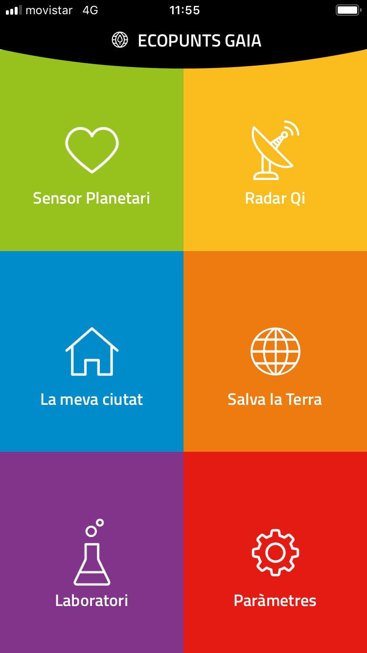 """Captura de la pantalla d'inici de l'app d'Android """"EcoPunts Gaia"""" creada per la Diputació de Barcelona."""
